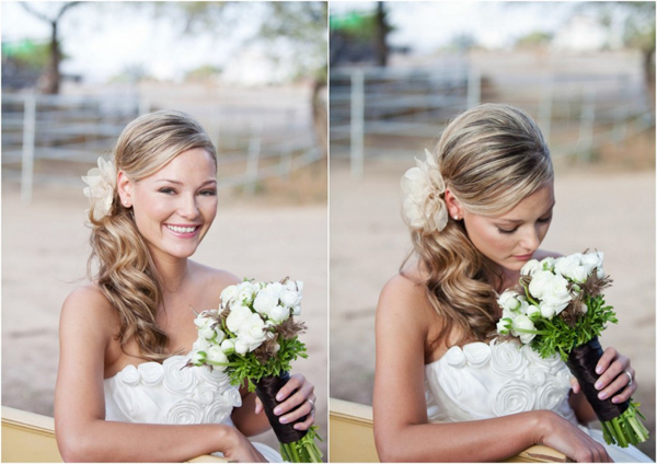 bride-side-ponytail-white-flowers-farm