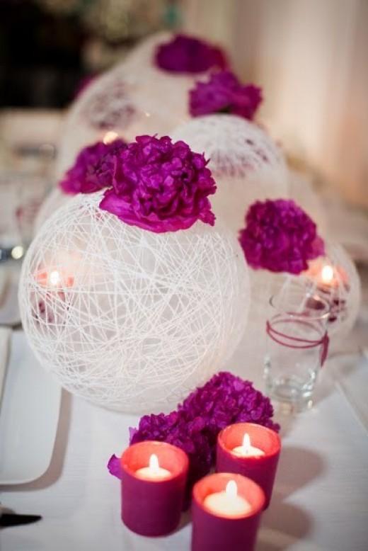 Decor boda globo hilos