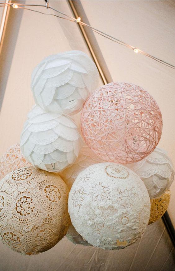 Vinatge globos con encajes
