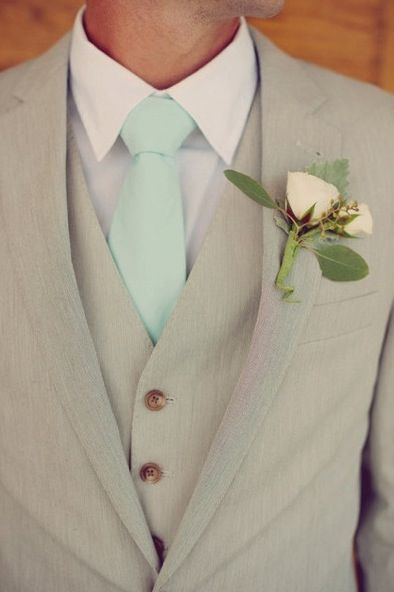 Novio corbata color mint