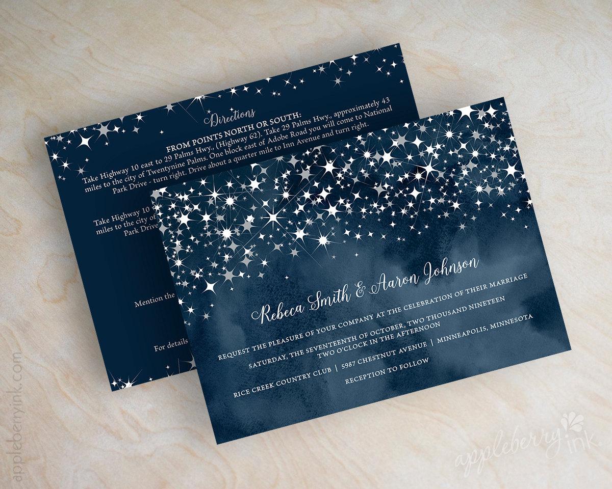 Invitaciones azul y plata