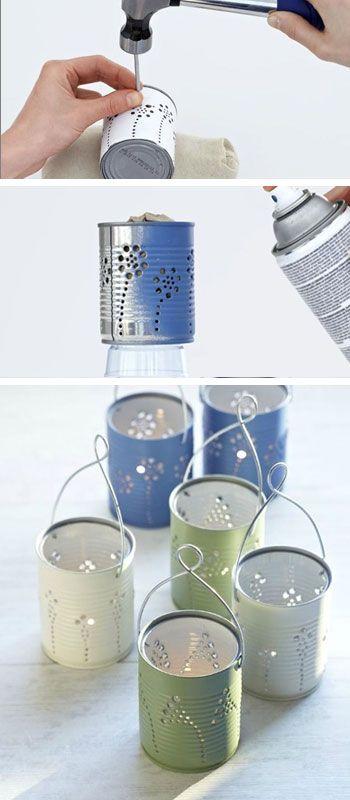 Más latas como lamparas